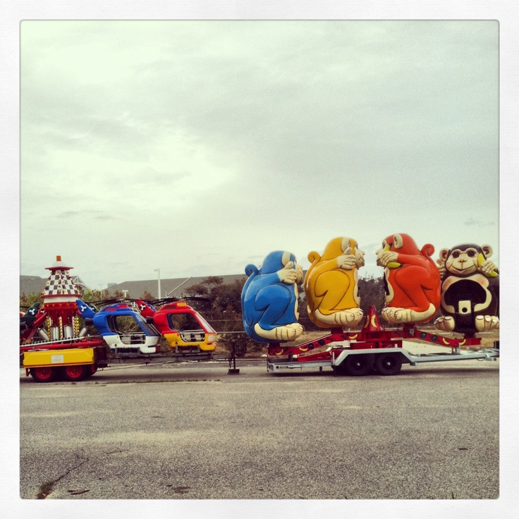 An outdoor amusement park is coming to Nags Head this summer, these rides were seen parked at the Old Dowdy's amusement site. #OBX #outerbanks #amusementpark