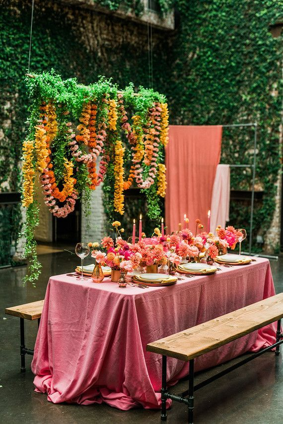 Ultra colorful wedding inspired by Indian floral garlands and Day of the Dead at The Foundry in NYC (100 Layer Cake)