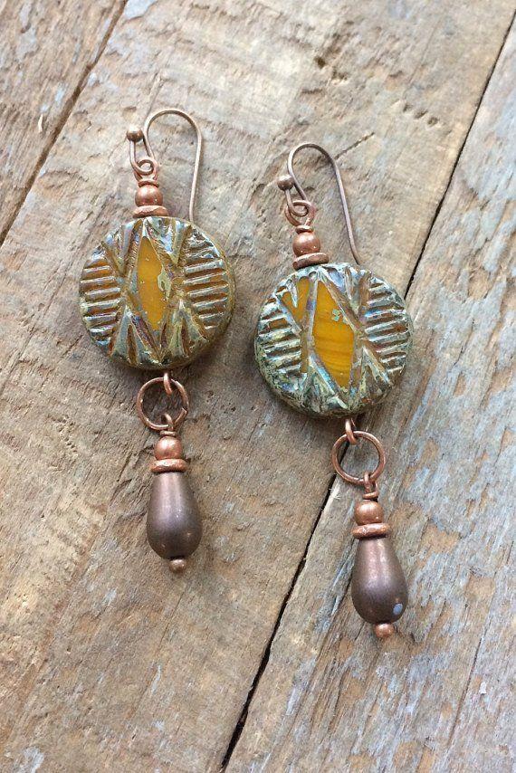 Southwestern earrings, earthy jewelry, orange jewelry