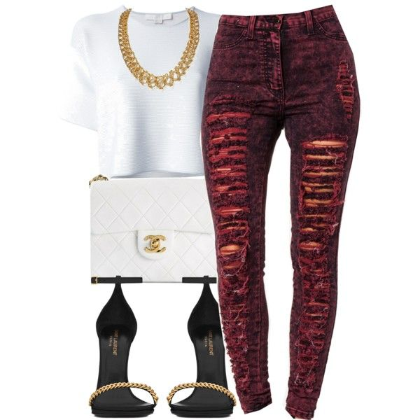 A fashion look from July 2014 featuring Alexander Wang t-shirts, Yves Saint Laurent sandals and Chanel handbags. Browse and shop related looks.
