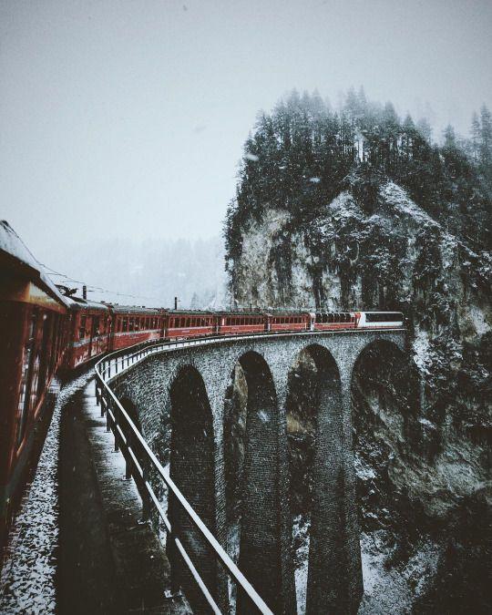 travel by train in wintertime.