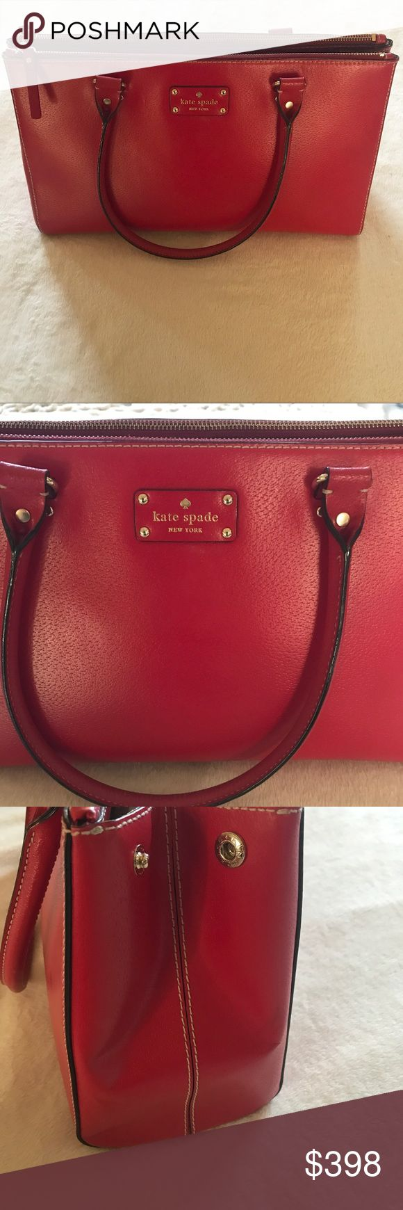 """Kate Spade ♠️ Wellesley Martine Red Leather Bag Like Brand New. Great Condition. Red Boar Skin embossed Leather with Gold Tone Hardware with KS nameplate on front. Two outer zippered compartments, center open compartment with magnetic closure. Interior features two open slip pockets and one zippered pocket. Dual handles with a drop of about 7.5"""".! kate spade Bags"""
