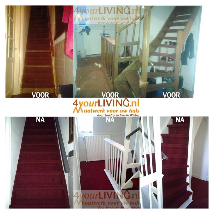 Stofferen van 2 trappen en een overloop situatie voor en for Hoeveel traptreden heeft een trap