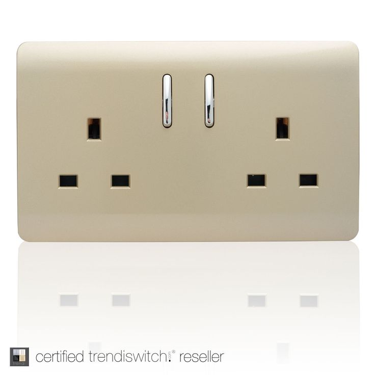 Trendi Switch 2 Gang Artistic Modern Glossy 13 Amp Electrical Short Switched Plug Socket Gold: Amazon.co.uk: Lighting