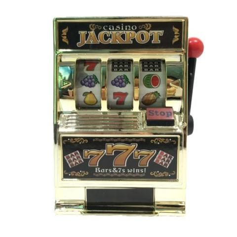 Toy Machine Bank Slot Coin Tin Jackpot Casino Vegas Money Box One Armed Bandit