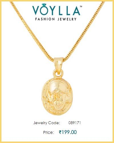 #Gold_Plated #Pendant With #Chain With #SaiBabaMotif  #Price : Rs. 199.00  #Jewelry_Code :089171  #Material : Brass