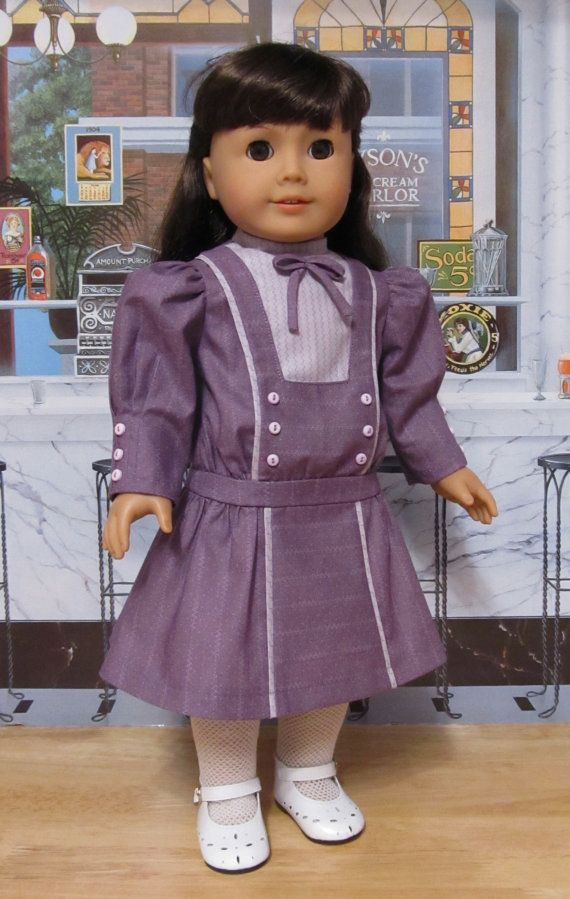 """Drop Waisted Frock - Made to Fit 18"""" American Girl Doll Samantha or Nellie, An Original KeepersDollyDuds design"""