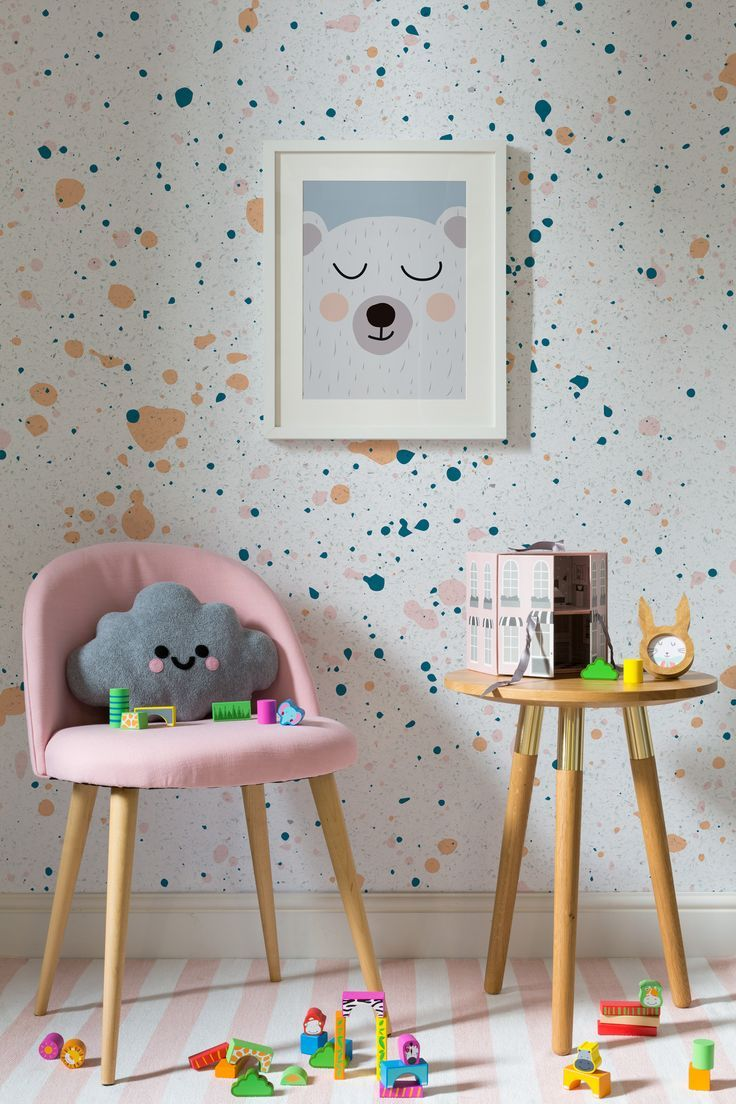 On the lookout for playful wallpaper designs? This speckle wallpaper design combines bright colours with joyful paint splatters. Perfect for kid's rooms and playroom spaces.