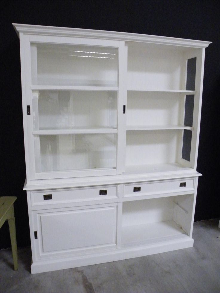 vitrine buffet schrank landhausstil landhaus shabby chic weiss massiv neu kommode sideboard. Black Bedroom Furniture Sets. Home Design Ideas