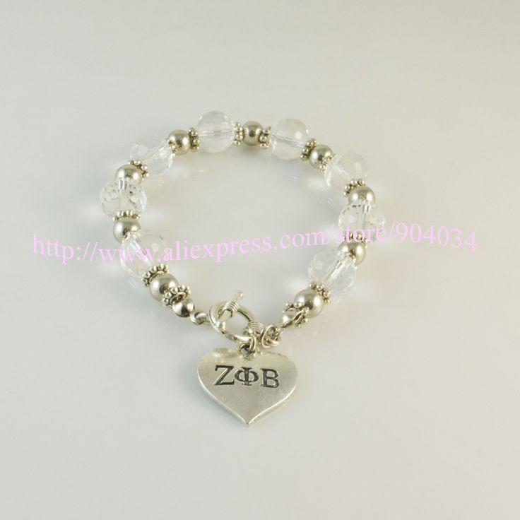 custom bracelet  sliver Jewelry  ZPB Sorority sliver heart  charm  bracelet Jewelry  ZETA PHI BETA crystal bracelet 5pc