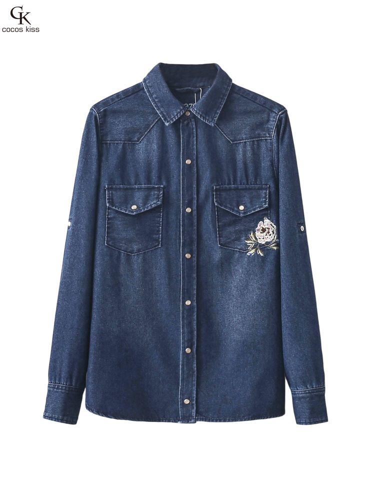 New fashion denim shirt women's long sleeve denim blouse embroidered denim shirts female vintage Jeans blouse casual tops
