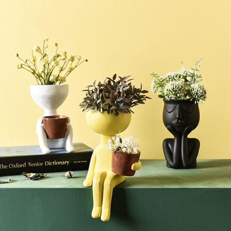 Resin Flower Pot Vase Girls Face Sculpture Cactus