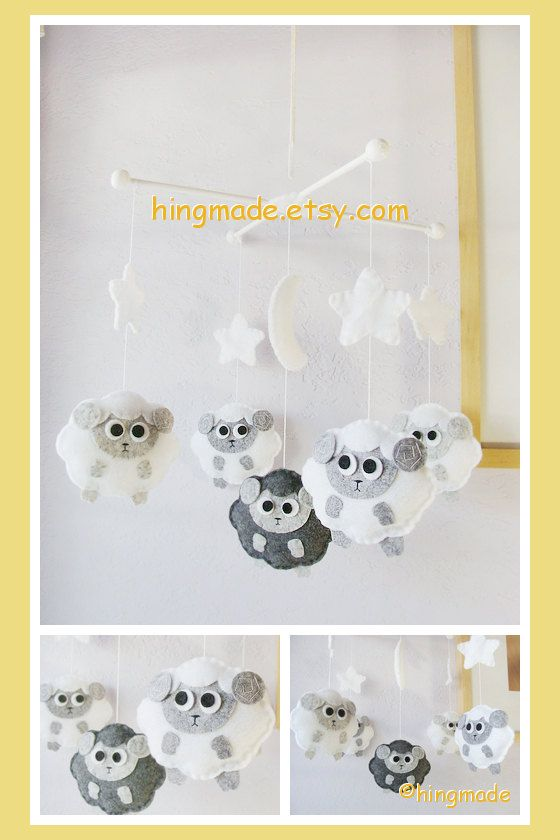 Sheep Mobile  Baby Mobile  Lambie Mobile  Gray and by hingmade, $98.00