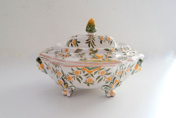Vintage French Soup Tureen Traditional Moustiers Hand Painted Decoration
