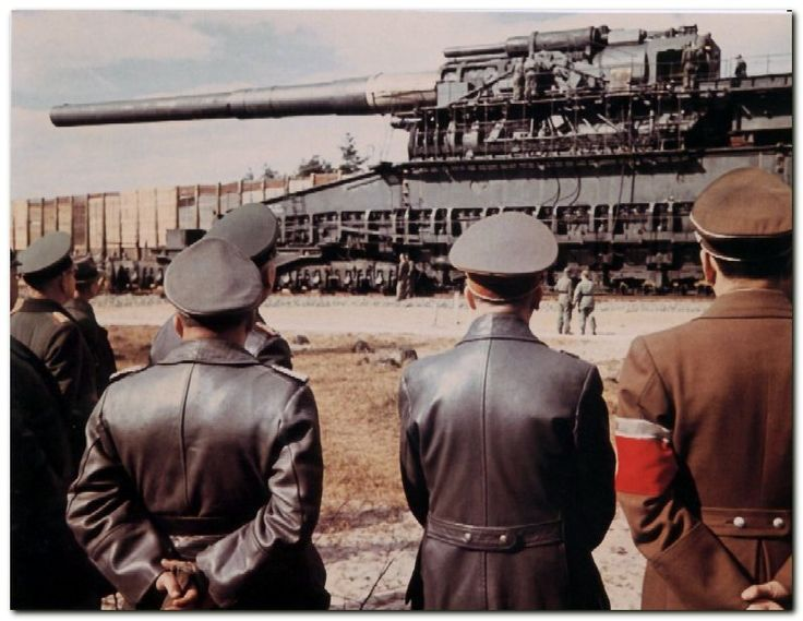 The Second World War saw the final use of the railway gun, with the massive 80 cm (31 in) Schwerer Gustav gun, the largest artillery piece to be used in combat, deployed by Germany.