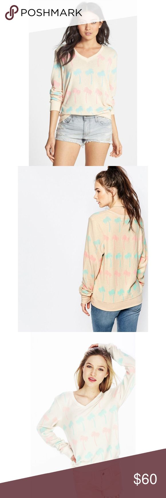 Wildfox Pastel Palms Baggy Beach Jumper 🍧🍡 Wildfox Cream colored BBJ now for sale!  I no longer wear this but I would love to resell it.  I had the sleeves professionally tailored in San Francisco and the measurements are in the photos (22 inches).  Has a very oversized/relaxed fit and v neckline.  Has no flaws other than pilling.  Feel free to ask questions, this sweater was very pricy and I spent an extra $15 tailoring the sleeves.  Tags:  tropical palm trees Los Angeles white cream…