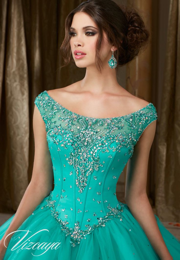 Morilee Vizcaya Quinceanera Dress 89108 JEWELED BEADED SATIN BODICE ON A TULLE BALL GOWN  Matching Stole. Available in Mint Leaf, Coral, Champagne, White (Color of this dress): Mint Leaf