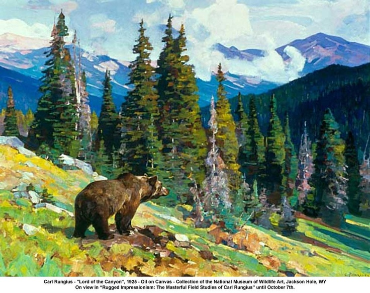 """artwork: Carl Rungius - """"Lord of the Canyon"""", 1925 - Oil on Canvas - Collection of the National Museum of Wildlife Art, Jackson Hole, WY On view in """"Rugged Impressionism: The Masterful Field Studies of Carl Rungius"""" until October 7th."""