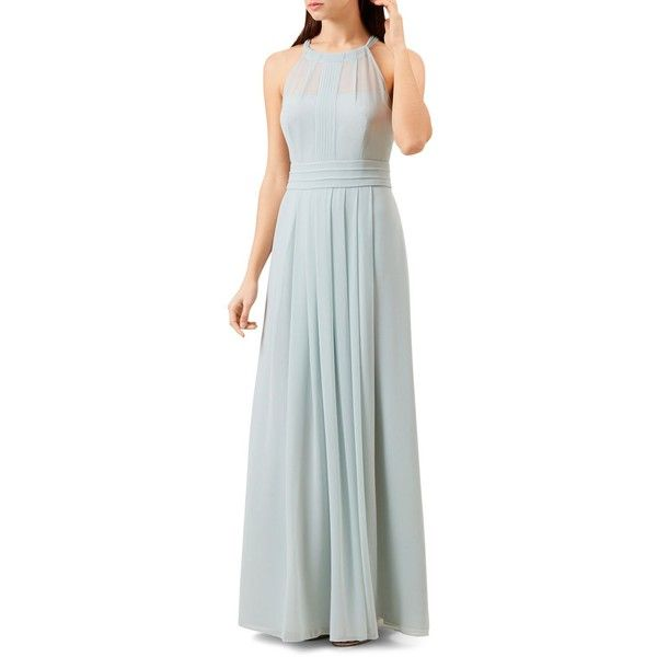 Hobbs London Alexis Pleated Gown ($360) ❤ liked on Polyvore featuring dresses, gowns, mint, hobbs, hobbs dresses, mint pleated dress, lined dress and pleated dress