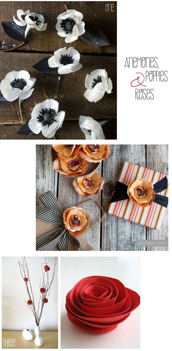 Paper-flowers-DIYs. Could be really inexpensive bouquets and/or centerpieces
