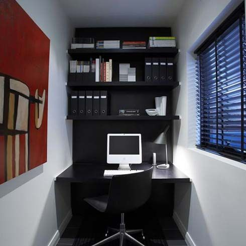 Computer desk area in office options pinterest for Desks for small areas