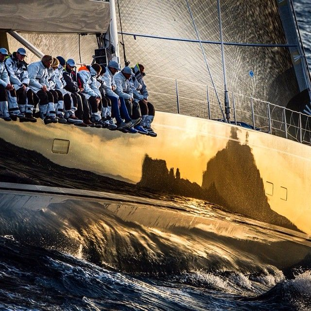 cool shot: Isle of Capri reflected on the hull during a Rolex Cup race - photo by Kurt Arrigo
