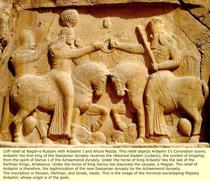 Elam: The Parthian's and Black Sassanian's This relief depicts Ardashir I's Coronation scene,Ardashir the first king of the Sassanian dynasty.