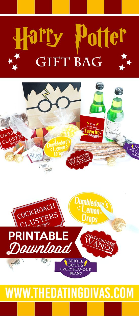 Fun Harry Potter gift idea- lots of printables for a POTTER PACKAGE! This is SO fun! Themed gift ideas for any Harry Potter fan.