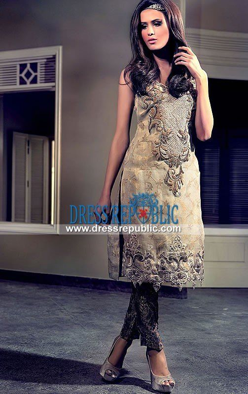 Pakistani Suits Online in Beige by Tena Durrani 2015