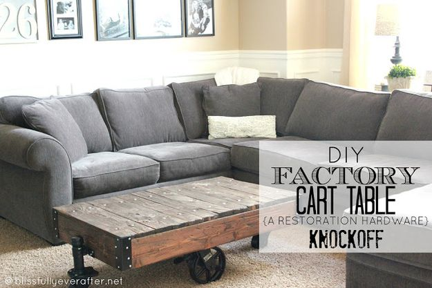 Re-create this Restoration Hardware coffee table with wooden pallets.
