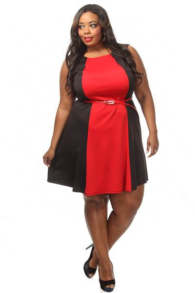 Plus Size Colorblock Flare Dress w/ Belt