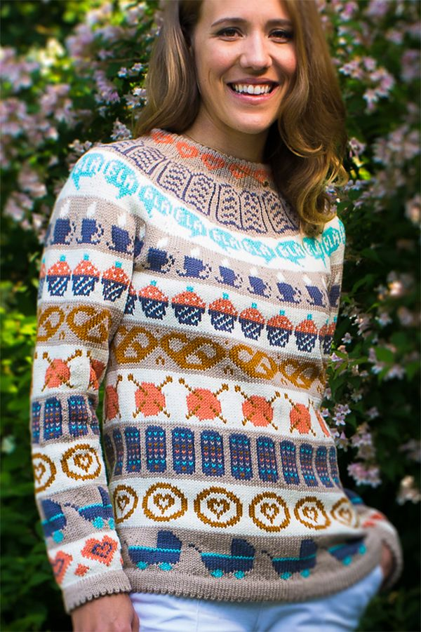 4af7046484b Free Pattern for Café Sweater - Pullover with fun stranded motifs inspired  by nice things you find at cafés or coffee shops