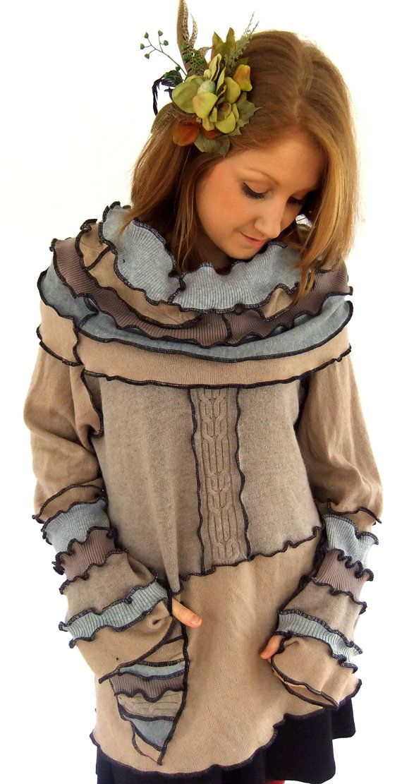 Cowl hood Sweater - XXXL - Patchworky Tunic SweateR on Etsy, $125.00