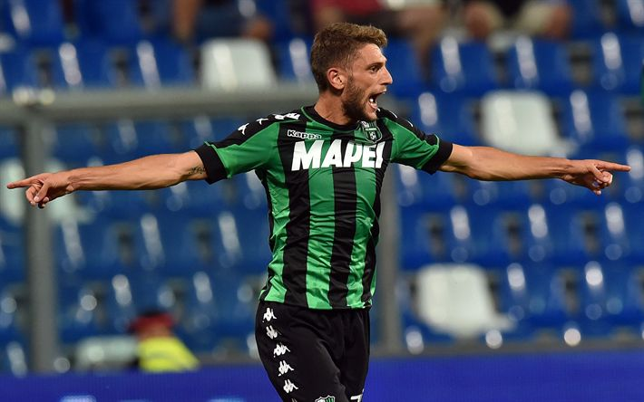 Download wallpapers Domenico Berardi, footballers, Serie A, match, soccer, Sassuolo