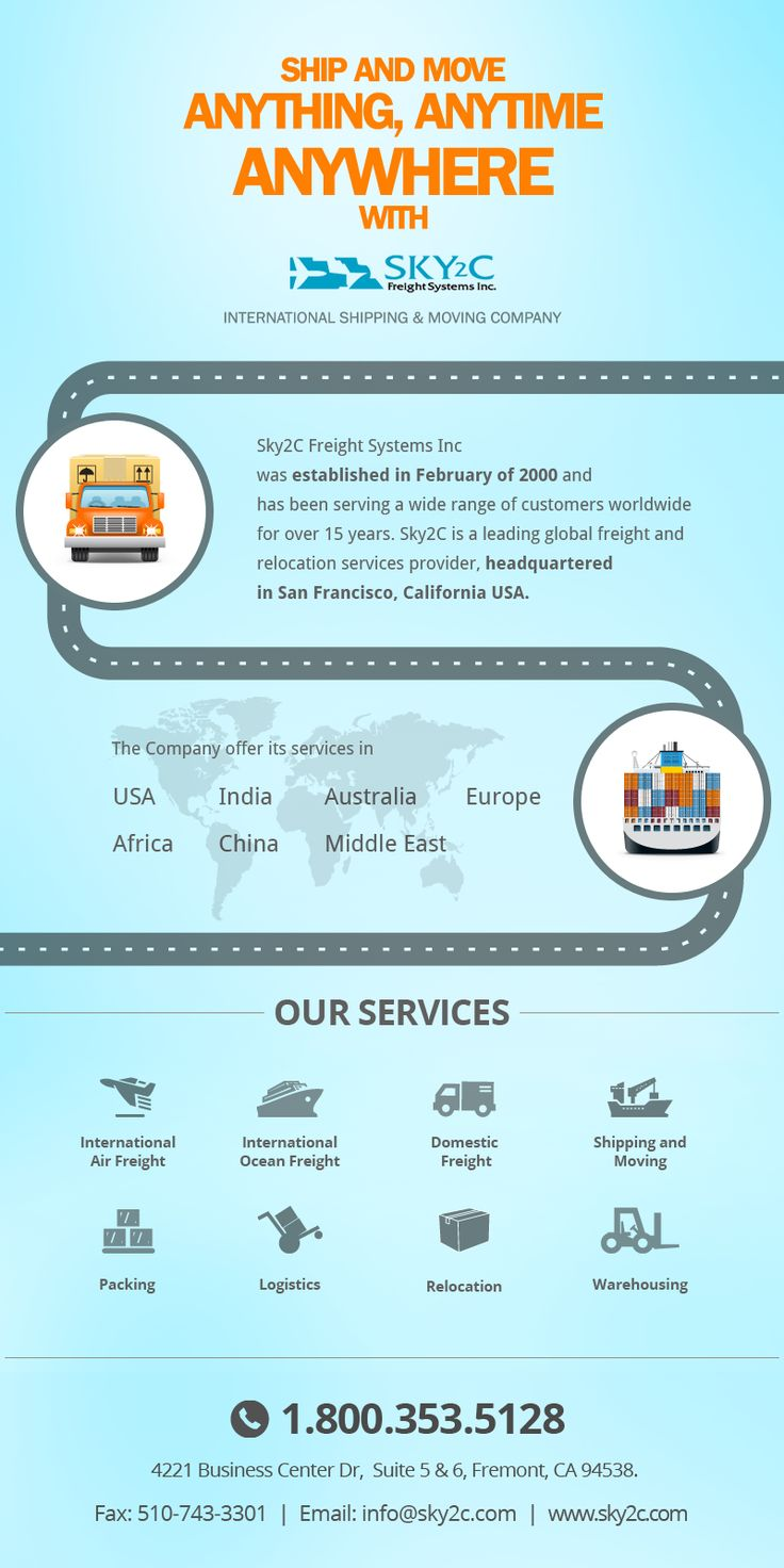 International #Shipping‬ and ‪Moving‬ Infographic. Sky2c Freight System is your one-stop global shipping company, offering specialized services in #International and Domestic Shipping, Warehousing, Freight Forwarding, FTL and LTL Trucking, Door-2-Door Delivery, Pickup Services and many more.