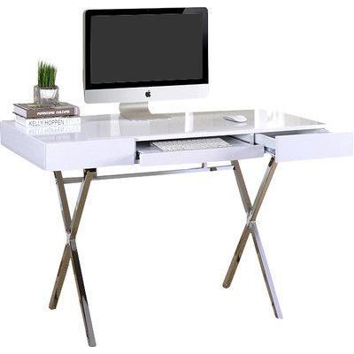 Computer Desk With 2 Drawers From Wayfair This White Computer Desk In An X  Design Creates