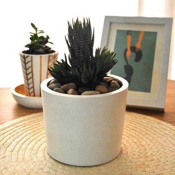 Moder Geometric Concrete White Flower Pot Succulent Cement Pot