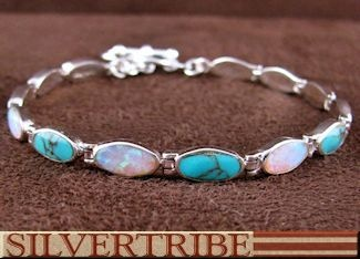 Turquoise Opal Inlay Sterling Silver Link Bracelet AS54683   Mother of the Groom Present?