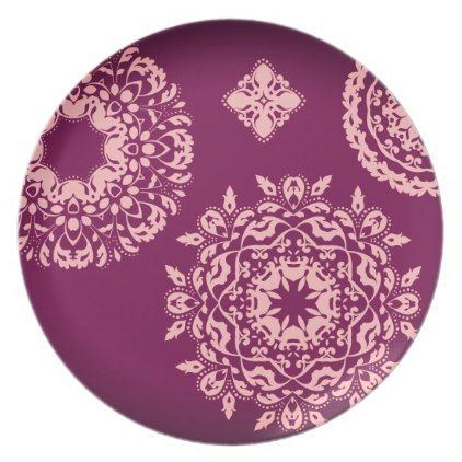 #elegant - #Pretty pink and purple dinner plate