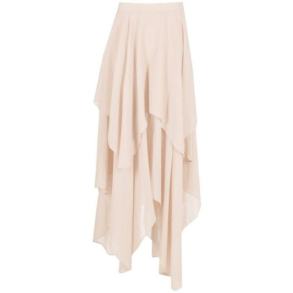 Aria Ruffle Hem High Low Maxi Skirt ($26) ❤ liked on Polyvore featuring skirts, hi low skirt, hi low maxi skirt, floor length skirts, pink long skirt and short in front long in back skirt
