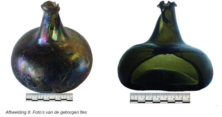 Geborgen fles uit IJsselmeer, mogelijk een zogenaamde Kattekop, een handgeblazen wijnfles die begin 18e eeuw werd vervaardigd.