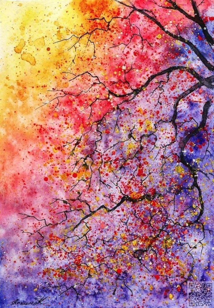 14. #aquarelle arbre – 31 #peintures, que vous pouvez #copier pour votre #propre…