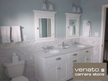 7 00sf Carrara Subway Tile Marble 3x6 Traditional Bathroom