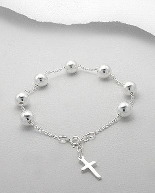 Sterling Silver Ball and Cross Rosary Bead by SunshineNShowers, £30.00