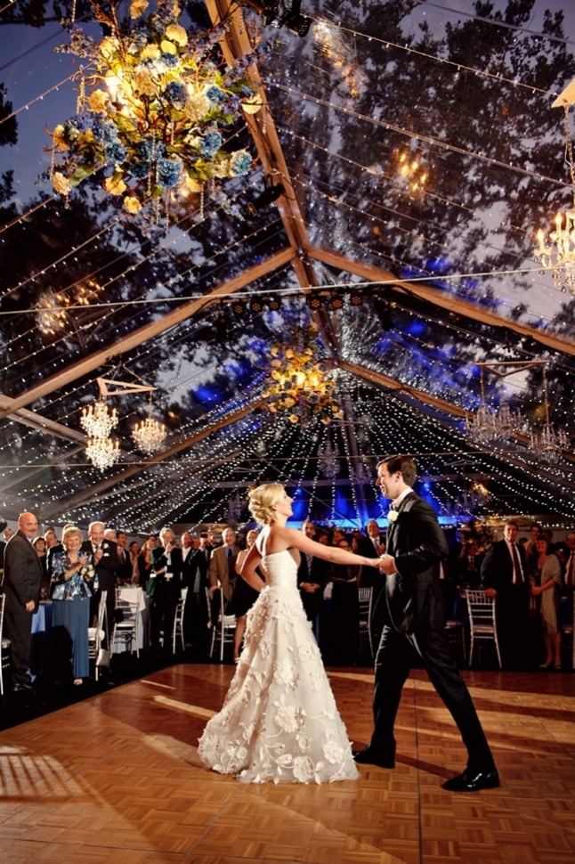 STUNNING Tent Reception. Want. | First Dance Pictures via A Northwoods Wedding >> A Midwest Wedding Blog. Image by Jess + Nate Studios: jessandnatestudios.com