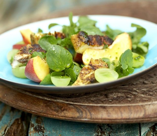 Grilled Curry Chicken with Watercress, Grapes, Peaches, and Orange-red ...