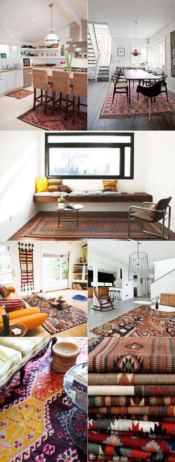 the geometric shapes of southwestern rugs pair so nicely with the clean lines of modern furniture