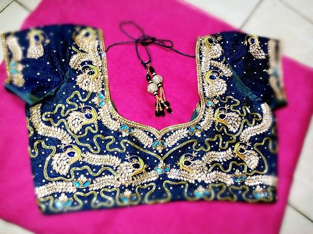 Peacock work blouse  @ Krishna Coutures  https://www.facebook.com/pages/Krishnas-Coutures/1614114748803719
