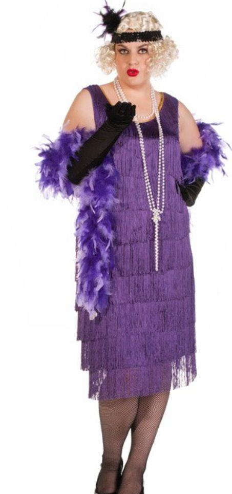 Gatsby Party - purple plus size costume http://www.heavencostumes.com.au/1920-s-chicago-long-purple-flapper-costume-plus-size.html