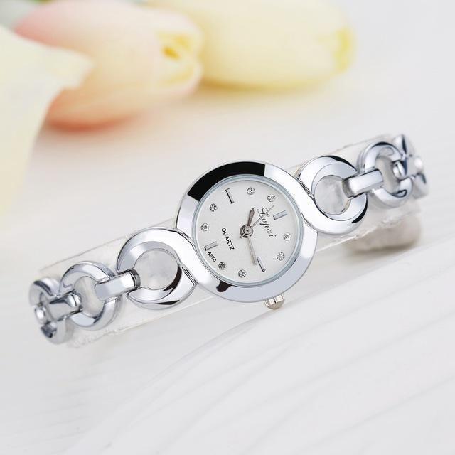 Lvpai Brand Stainless Steel Dress Watches Girls Quartz Watch Bracelet Watch Ladies Fashion Women Crystal Round Wristwatch